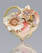Jay Strongwater Margaux Floral Heart Trinket Tray Enameled Crystals