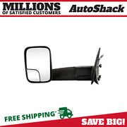 Side View Mirror Tow Manual Black Driver For Dodge Ram 1500 Ram 2500 Ram 3500 V8