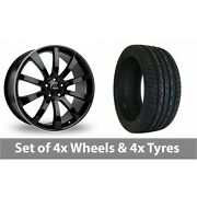 4 X 22 Riva Suv Black Polished Alloy Wheel Rims And Tyres - 295/30/22