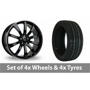 4 X 20 Riva Suv Black Polished Alloy Wheel Rims And Tyres - 245/40/20