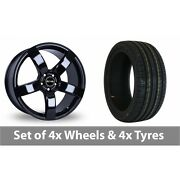 4 X 20 Riva Fwd Black Alloy Wheel Rims And Tyres - 245/40/20
