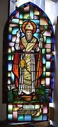+ Nice Older Stained Glass Window St. Gregory Of Nareg + Chalice Co. Cu401