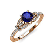 Blue Sapphire And Diamond Engagement Ring 1.23 Ct Tw In 14k Rose Gold Jp110606