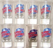 8 Planet Hollywood 3.5 Shot Glass Collection Flared Clear Ph Globe Logo Jiggers