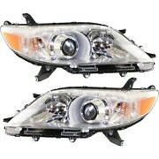 Halogen Headlight Headlamp Left And Right Pair Set Of 2 For 11-13 Toyota Sienna