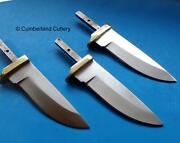 Lot Of 3 Knife Making Blade Blanks With Brass Guard