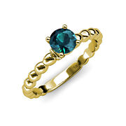 Blue And White Diamond Women Engagement Ring 1.06 Ct Tw 14k Yellow Gold Jp110953