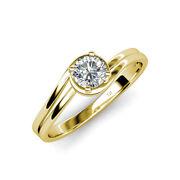 Diamond Bypass Womens Solitaire Engagement Ring 0.63ct 14k Yellow Gold Jp112846