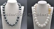 D0317 20 20mm White Black Round South Sea Shell Pearl Necklace Cz Cougar