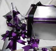 Silver Eggplant Black Ring Pillow Flower Girl Basket Halo Guest Book Card Box