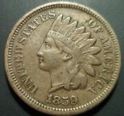 Vf 1859 Indian Head Cent S3 Snow 3 Rpd Repunched Date Mint Error N69