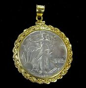 Coin Jewelry Pendant Vintage Walking Liberty Half Dollar Gold Filled Rope Bezel