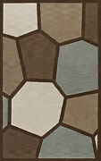 Brown Circles Stained Glass Blocks Lines Transitional Area Rug Abstract Tr9