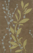 Brown Leaves Vines Flowers Stems Transitional Area Rug Floral Tr20