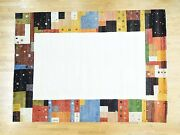9and0398x13and0395 100 Percent Wool Hand-knotted Folk Art Fine Oriental Rug R34012