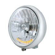 Motorcycle 7 Grooved Headlight With Chrome Housing-10 Amber Auxiliary Led Bulb