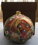 Jay Strongwater 2016 Opulent Glass Ball Ornament Signed New In Box
