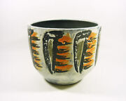 Gorka Livia Cachepot With Black And Orange Motifs 8 1960and039s Art Pottery G083