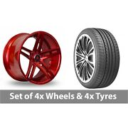 4 X 20 Axe Ex20 Candy Red Alloy Wheel Rims And Tyres - 235/35/20