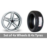 4 X 18 Wolfrace Poison Silver Alloy Wheel Rims And Tyres - 255/35/18