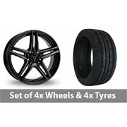 4 X 20 Wolfrace M10 Black Alloy Wheel Rims And Tyres - 275/35/20