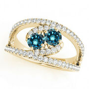 1.58 Cts Blue Vs2-si1 2 Stone Diamond Solitaire Ring 14k Yellow Gold