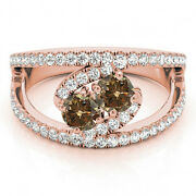 1.58 Cts Brown Vs2-si1 2 Stone Diamond Solitaire Ring 14k Rose Gold