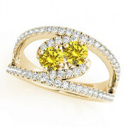 1.58 Cts Yellow Vs2-si1 2 Stone Diamond Solitaire Ring 14k Yellow Gold