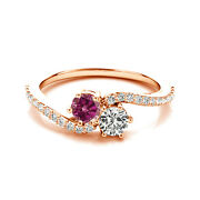 1.24cts Whiteandpink Vs2-si1 2 Stone Solitaire Ring 14k Rg Valentineday Spl.sale