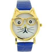 The Olivia Collection Ladies/girls White Dial Cat Face Blue Croc Effect Watch