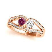 1.25 Carat Pink And White Vs2-si1 2 Diamond Solitaire Engagement Ring 14k Rg