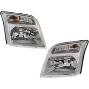 Headlight Set For 2010-2013 Ford Transit Connect Left And Right With Bulb 2pc