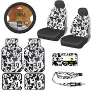 Disney Mickey Mouse Car Truck Front Seat Covers Floor Mats Steering Wheel Cover