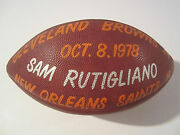 Sam Rutigliano Cleveland Browns Signed Autographed Game Used 1978 Nfl Football