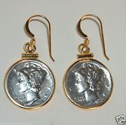 Antique Mercury Dime Earrings 90 Silver Coins 1/20th 14k Gold Bezels And Hooks