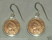 Coin Jewelry Earrings Vintage Indian Cent Coins Sterling Silver Bezels And Hooks
