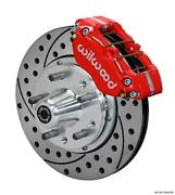 Wilwood 65-69 Ford Front Disc Brake Kit 11 Drilled Rotor Red Caliper