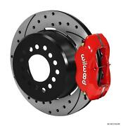 Wilwood Rear Disc Brake Kit Small Ford 9 W/ 2.66 Offset 12.19 Drilled Red