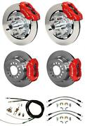 Wilwood 65-69 Mustang 4 Wheel Disc Big Brake Kit 12 Plain Rotor Red Caliper