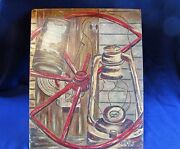 1955 Oil On Board Farm Country Collage Of Barn Implements Signed V. Haney