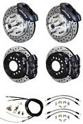 64-72 Chevelle Wilwood 4 Wheel Disc Brake Kit 11 Drilled Black Caliper