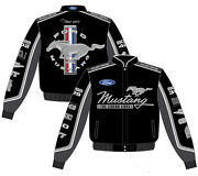 Ford Mustang Jacket Unisex Black Cotton Twill Collage Embroidered Jh Design New