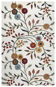 Rizzy Rugs Ivory Contemporary Wool Flowers Leaves Vines Area Rug Floral Di1466