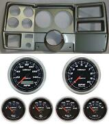 73-83 Gm Truck Silver Dash Carrier W/ Auto Meter Cobalt 5 Gauges