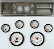 73-79 Ford Truck Silver Dash Carrier W/ 3-3/8 Concourse Series White Gauges
