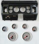 80-86 Ford Truck Carbon Dash Carrier W/ 3-3/8 Concourse Series Silver Gauges