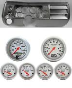 68 Chevelle Silver Dash Carrier W/ Auto Meter 3-3/8 Ultra-lite Electric Gauges