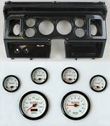 80-86 Ford Truck Carbon Dash Carrier W/ 3-3/8 Concourse Series White Gauges