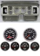 80-86 Ford Truck Silver Dash Carrier W/ Auto Meter 3-3/8 Sport Comp Ii Gauges