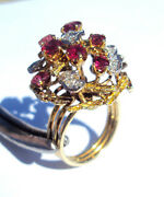 Superb 4188 Vintage Cocktail Ring 16k Gold W/rubies And Diamonds- No Reserve